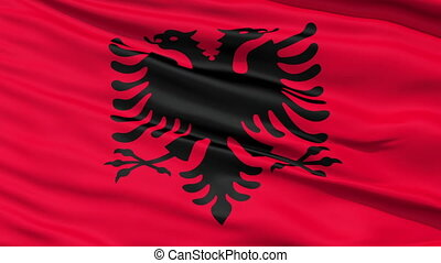Waving national flag of Albania - Closeup cropped view of a...