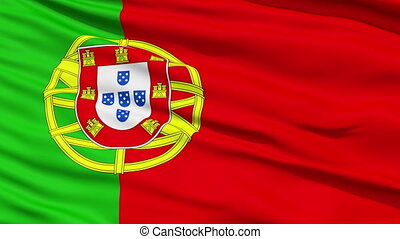 Waving national flag of Portugal - Closeup cropped view of a...