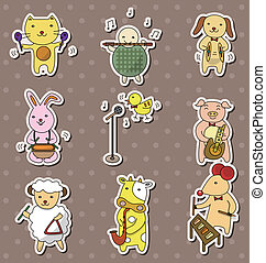 animla play music stickers