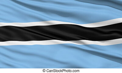Waving national flag of Botswana - Closeup cropped view of a...