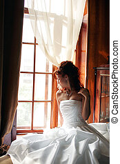 wedding day bride - Wedding day bride in traditional white...
