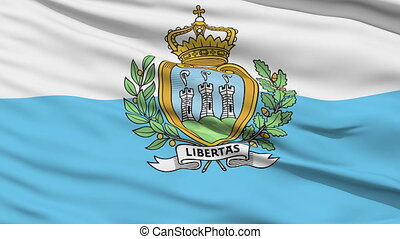 Waving national flag of Sanmarino - Closeup cropped view of...