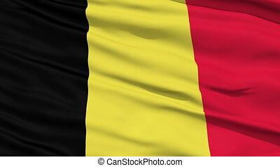 Waving national flag of Belgium - Closeup cropped view of a...