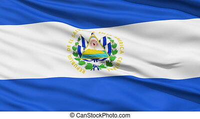 Waving national flag of El Salvador - Closeup cropped view...