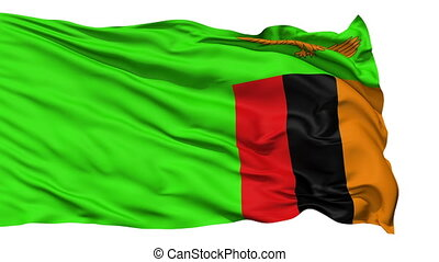 Waving national flag of Zambia - Animation of the full...