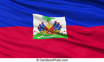Waving national flag of Haiti - Closeup cropped view of a...