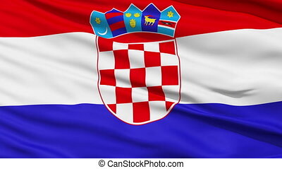 Waving national flag of Croatia - Closeup cropped view of a...