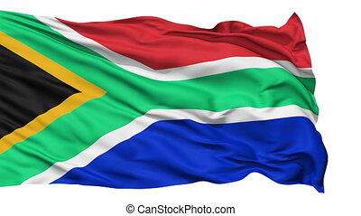 Waving national flag of South Africa