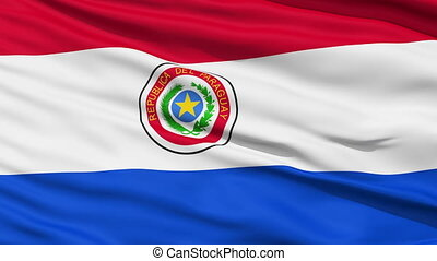 Waving national flag of Paraguay - Closeup cropped view of a...