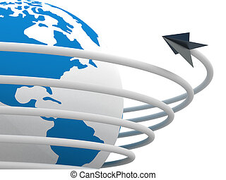 Global communication in the world. 3D image.