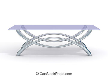 glass little table on a white background. 3D image.