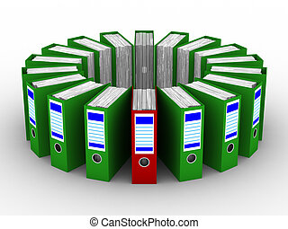 Accounting folders standing around. 3D image on white background