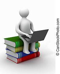estudante, laptop, sentando, LIVROS, 3D, imagem