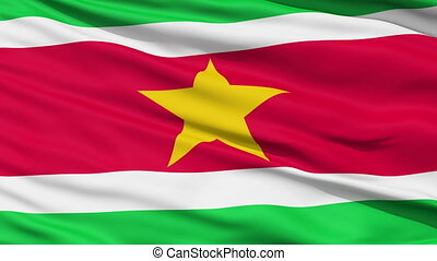 Waving national flag of Suriname - Closeup cropped view of a...