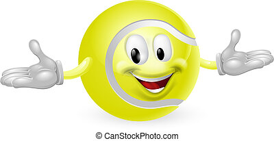 Tennis Ball Man - Illustration of a cute happy tennis ball...