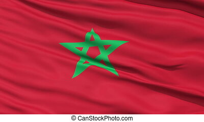 Waving national flag of Morocco - Closeup cropped view of a...