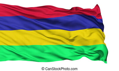 Waving national flag of Mauritius
