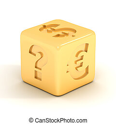 Cube with currency signs 3D image