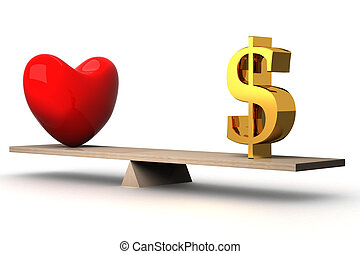 choice concept between love and money. 3D image.
