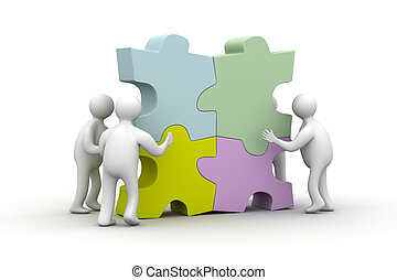 People collect puzzle. 3D image. Isolated illustrations