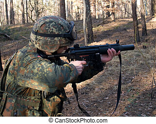 Bundeswehr soldier - Soldier aiming the target