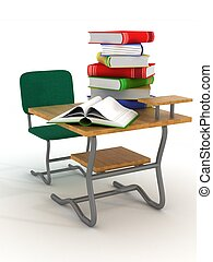 School desk with textbooks. 3D image.