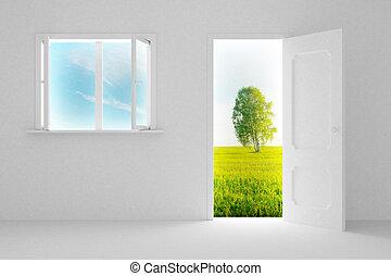 Landscape behind the open door and window. 3D image
