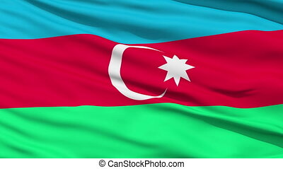 Waving national flag of Azerbaijan - Closeup cropped view of...