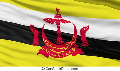 Waving national flag of Brunei - Closeup cropped view of a...