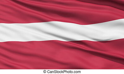 Waving national flag of Latvia - Closeup cropped view of a...