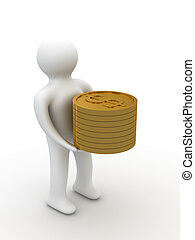 person with money for a white background. Isolated 3D image