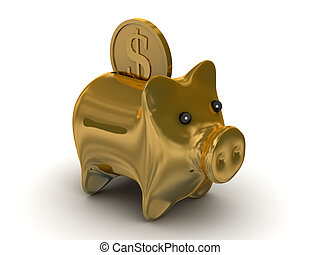 Gold pig a coin box Isolated 3D image