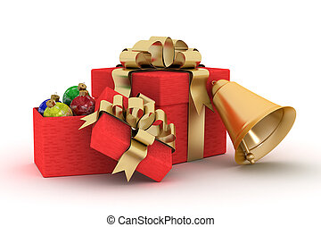 Gift set on a white background. 3D image.