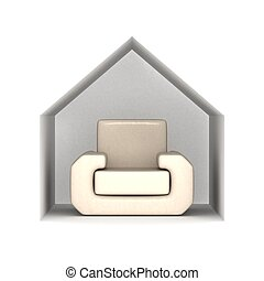 Armchair under a house roof. 3D image.