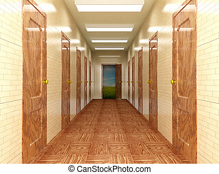 Corridor with a several of doors. 3D image.