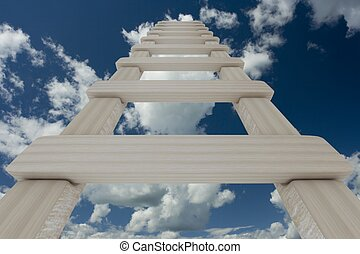 Stair to sky. 3D image.