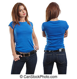 Sexy female wearing blank blue shirt - Young beautiful...