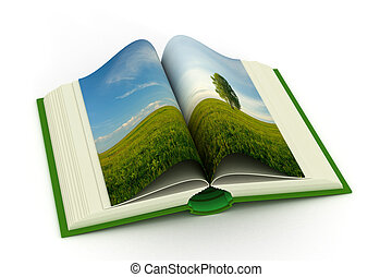 open book with a landscape 3D image