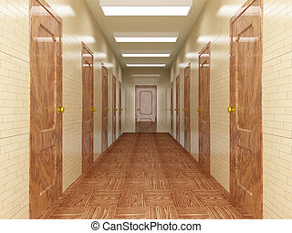 Corridor with a number of doors 3D image