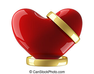 Heart with wedding rings on a white background 3D image