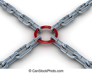 Chain fastened by a red ring 3D image