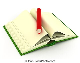Opening book on a white background. 3D image.