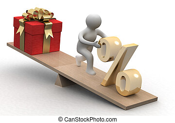 Discounts for gifts. Isolated 3D image