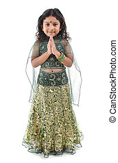 Indian Greeting - Cute little Indian girl in a greeting...