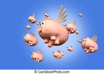quando, porcos, mosca