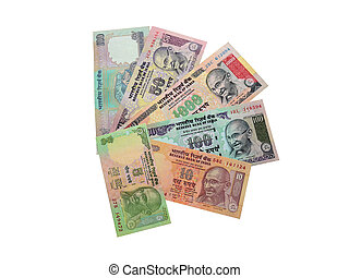 Indian rupees - The photo of modern Indian banknotes in...