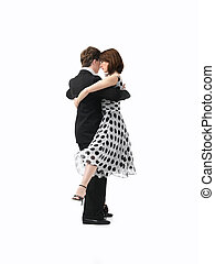 young couple dancing the tango, white background