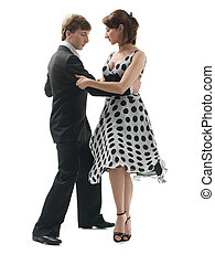 young couple dancing the tango, white background - young...