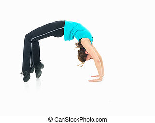 young woman showing fitness routine, white background
