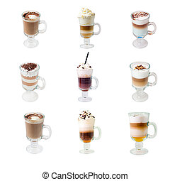 collection glass cap with coffee isolated - collection glass...